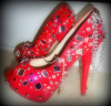 CUSTOM SWAROVSKI RED PATENT MIRRORED/CHAIN PLATFORM