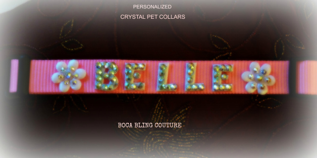 CUSTOM CRYSTAL COLLAR WITH PERSONALIZATION LARGE BREED