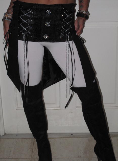 CUSTOM CORSET BELT WITH TAILS AND CHAINS