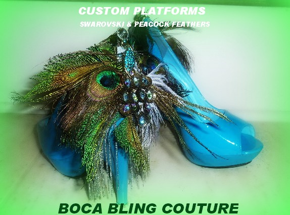 CUSTOM PEACOCK FEATHER EMBELLISHED PLATFORMS