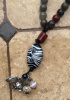 CUSTOM WOVEN BEADED NECKLACE WITH ZEBRA MOTIF FOCAL BEAD